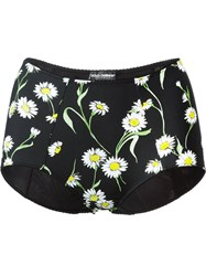 Dolce And Gabbana Daisy Print Bikini Bottoms Black