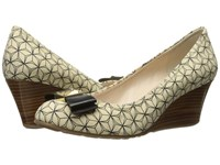 Cole Haan Tali Grand Bow Wedge 65 Ivory Black Prism Print Women's Wedge Shoes Yellow