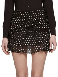 Saint Laurent Polka Dot Ruffled Mini Skirt Black White
