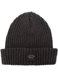 Paul And Shark Ribbed Knitted Beanie Blue