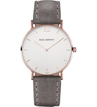 Paul Hewitt Sailor Line Rose Gold Plated Leather Watch
