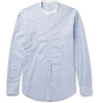 Massimo Alba Grandad Collar Cotton Shirt Blue