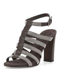 Monilli Caged High Heel Sandal Onyx Brunello Cucinelli Black