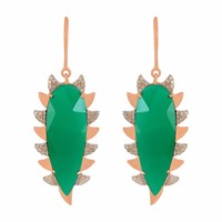 Meghna Jewels Claw Earrings Green Chalcedony And Diamonds
