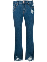 Don't Cry Frayed Bootcut Jeans Blue