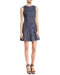 Alice Olivia Fonda Floral Lace Drop Waist Dress Blue