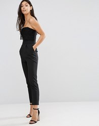 Traffic People Bandeau Jumpsuit With Crochet Overlay Black
