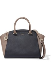 Dkny Two Tone Textured Leather Tote Blue