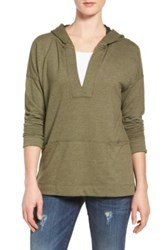 Caslon Hooded Pullover Tunic Green