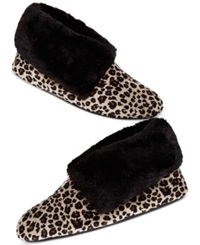 Charter Club Microvelour Bootie Slipper With Memory Foam Only At Macy's Leopard