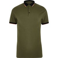 River Island Khaki Green Tipped Muscle Fit Polo Shirt