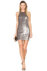 Halston Sequined Dress Metallic Silver