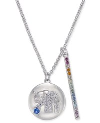 Danori Silver Tone Elephant Pave Disc And Horizontal Bar Pendant Necklace 16 2 Extender Created For Macy's Clear