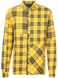 Mostly Heard Rarely Seen Quilted Plaid Shirt Jacket Cotton L Yellow Orange