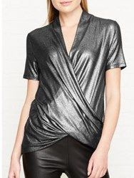Karen Millen Metallic Wrap Top Pewter
