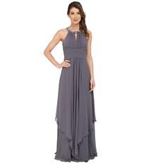 Donna Morgan Siena Beaded Halter Long Gown Dress Charcoal Women's Dress Gray