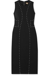 Michael Kors Collection Studded Wool Blend Crepe Dress Black