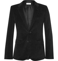 Saint Laurent Black Elbow Patch Cotton Corduroy Blazer