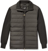 Dunhill Ribbed Merino Wool Blend And Quilted Shell Down Jacket Gray
