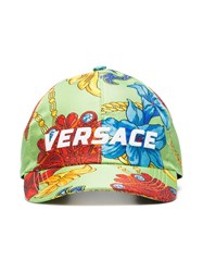 dac903079af9c Versace Green Logo Embroidered Jewellery Print Silk Baseball Cap