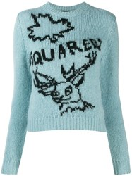 Dsquared2 Logo Knit Sweater Blue