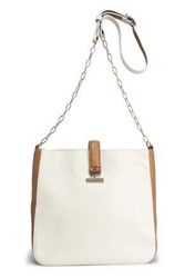Halston Textured Leather Shoulder Bag Off White Off White