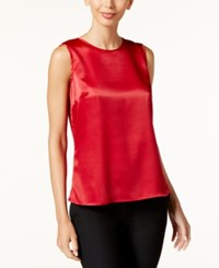 Kasper Sleeveless Suiting Top Fire Red