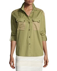 Belstaff Two Tone Patch Pocket Camp Shirt Olive Green Women's
