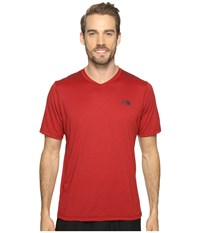 The North Face Reactor Short Sleeve V Neck Cardinal Red Heather Men's Clothing