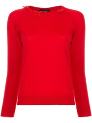 Simone Rocha Bow Detail Sweater Red