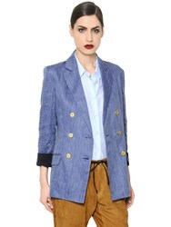 Trussardi Linen And Cotton Blend Herringbone Jacket