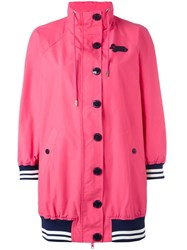 Love Moschino Striped Detail Coat Pink Purple