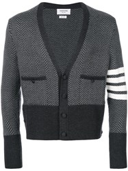 Thom Browne 4 Bar Stripe Cardigan Grey