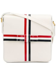 Thom Browne Square Pebbled Leather Gift Box Bag White