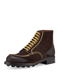 Prada Contrast Stitch Suede Lace Up Boot Brown Yellow Brown Yellow