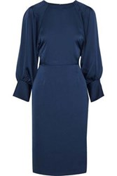 Iris And Ink Imogen Tie Back Hammered Satin Crepe Dress Navy