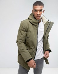 D Struct Sherpa Lined Parka Jacket Green