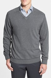 Men's Cutter And Buck 'Broadview' Cotton V Neck Sweater Charcoal Heather