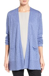 Eileen Fisher Women's Organic Linen And Cotton Open Front Cardigan Periwinkle