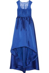Mikael Aghal Lace Paneled Asymmetric Satin Twill Gown Royal Blue