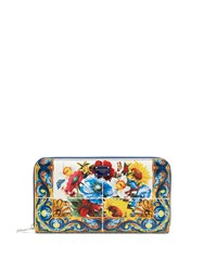 Dolce And Gabbana Majolica Print Leather Zip Around Wallet Multi