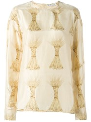 Christian Dior Vintage Wheat Sheaf Print Top Nude And Neutrals