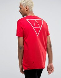 Asos Longline T Shirt With Heavy Distress And Back Triangle Print Haute Red