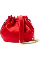 Diane Von Furstenberg Love Power Mini Leather Trimmed Satin Bucket Bag Red