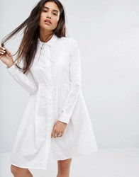 Noisy May Peplum Hem Shirt Dress White