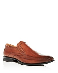 Kenneth Cole Extra Official Leather Square Toe Loafers Cognac