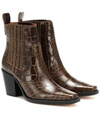 Ganni Callie Croc Embossed Ankle Boots Green