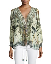 Camilla A Sky Of Shadows Lace Up Top