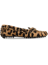 Car Shoe Leopard Print Loafers Brown