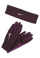 Nike Performance Womens Run Dry Headband And Glove Set Gloves Port Wine Night Purple Silver Bordeaux
